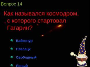 Вопрос 14 Как назывался космодром, с которого стартовал Гагарин? Байконур Пле