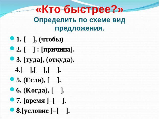 «Кто быстрее?» Определить по схеме вид предложения. 1. [ ], (чтобы) 2. [ ] :...