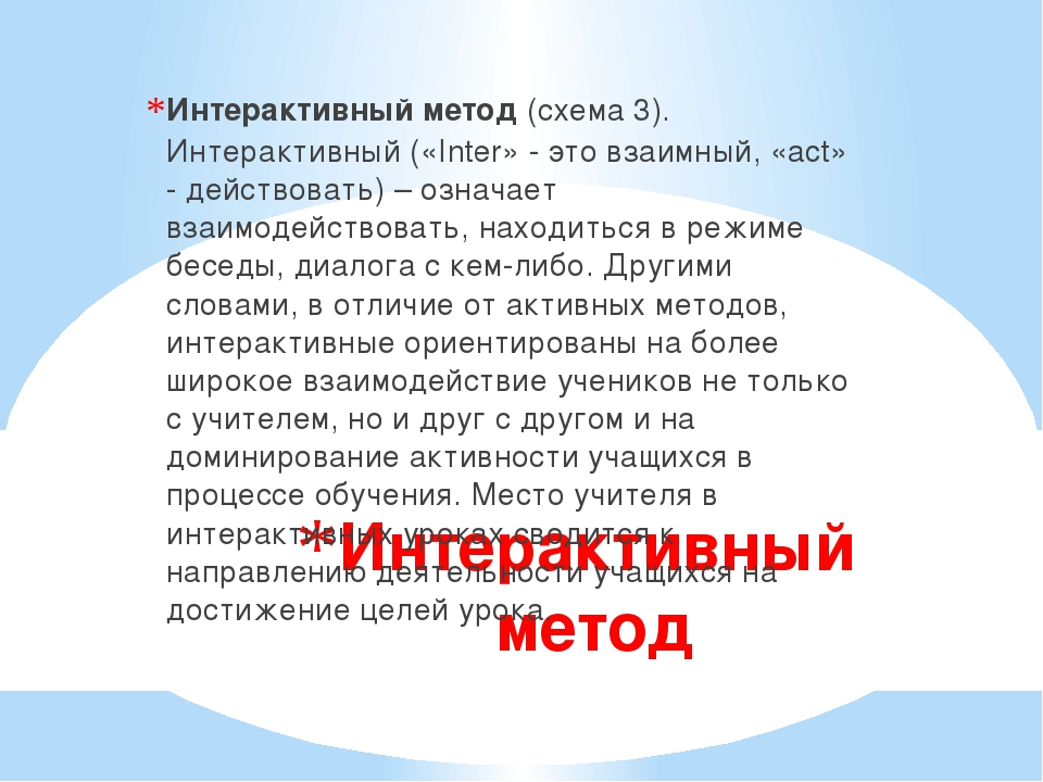 Интерактивный метод Интерактивный метод(схема 3). Интерактивный («Inter» - э...