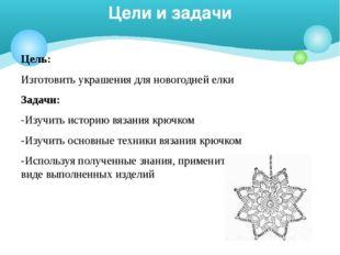 Цель: Изготовить украшения для новогодней елки Задачи: -Изучить историю вязан