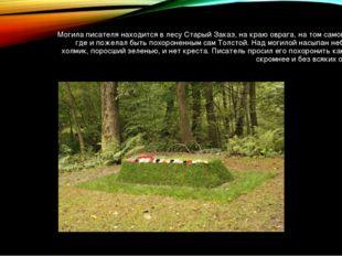Могила писателя находится в лесу Старый Заказ, на краю оврага, на том самом м