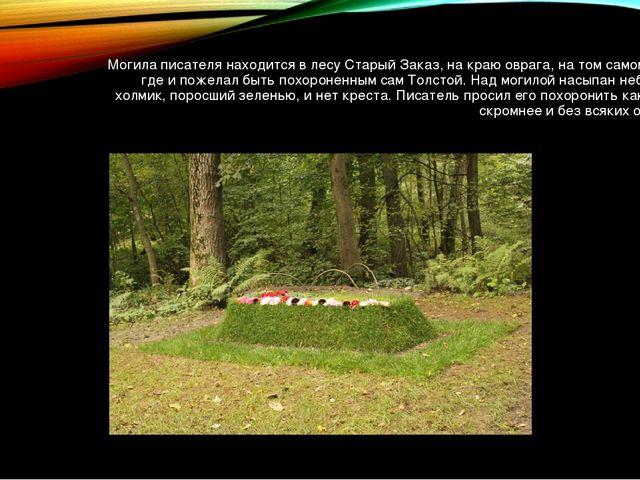 Могила писателя находится в лесу Старый Заказ, на краю оврага, на том самом м...