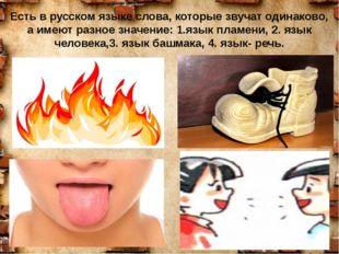 Есть в русском языке слова, которые звучат одинаково, а имеют разное значение