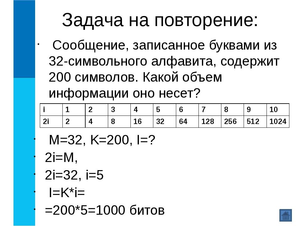 Задача на повторение: Сообщение, записанное буквами из 32-символьного алфавит...