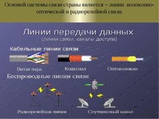 Основой системы связи страны является – линии волоконно-оптической и радиорел