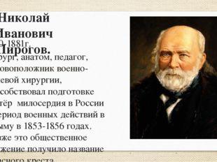 Николай Иванович Пирогов. 1810-1881г. Хирург, анатом, педагог, основоположник