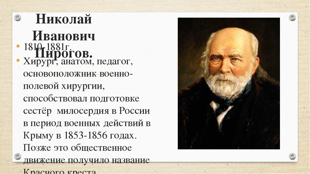 Николай Иванович Пирогов. 1810-1881г. Хирург, анатом, педагог, основоположник...