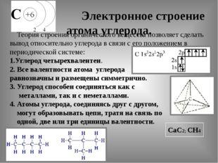 Электронное строение атома углерода. Теория строения органического вещества