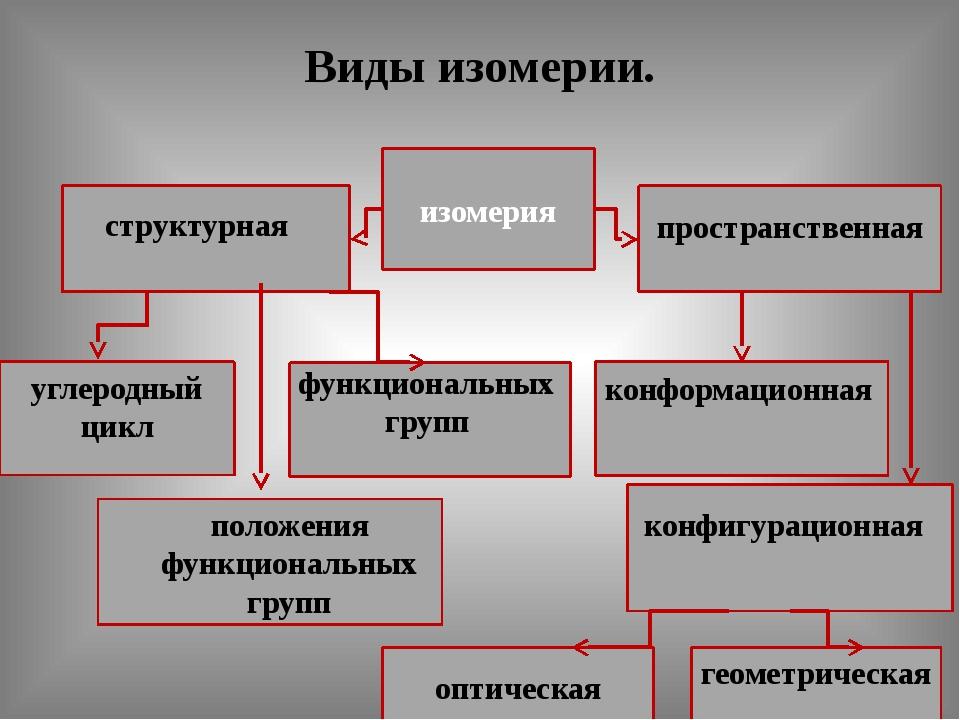 Виды изомерии. изомерия структурная пространственная углеродный цикл функцион...
