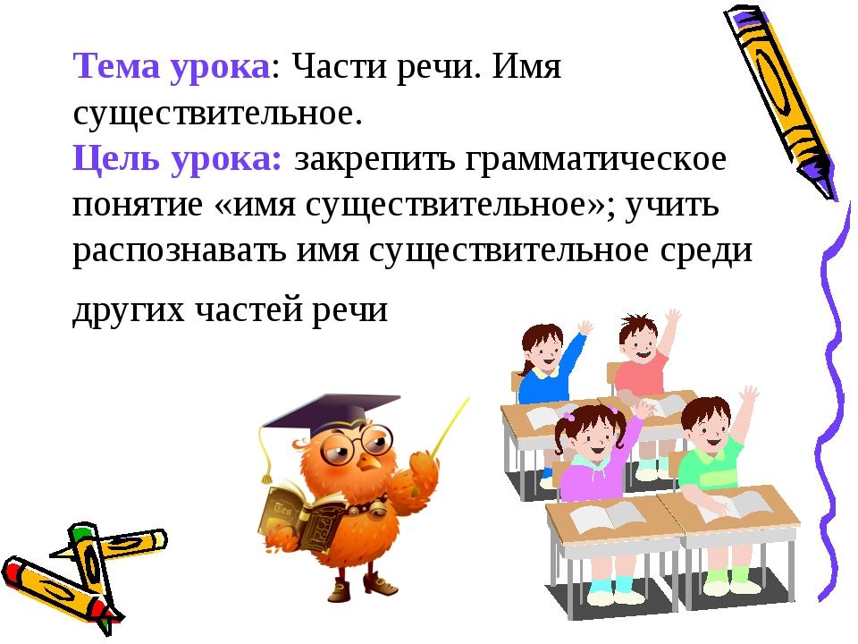 Тема урока: Части речи. Имя существительное. Цель урока: закрепить грамматиче...