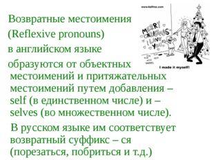 Возвратные местоимения (Reflexive pronouns) в английском языке образуются от