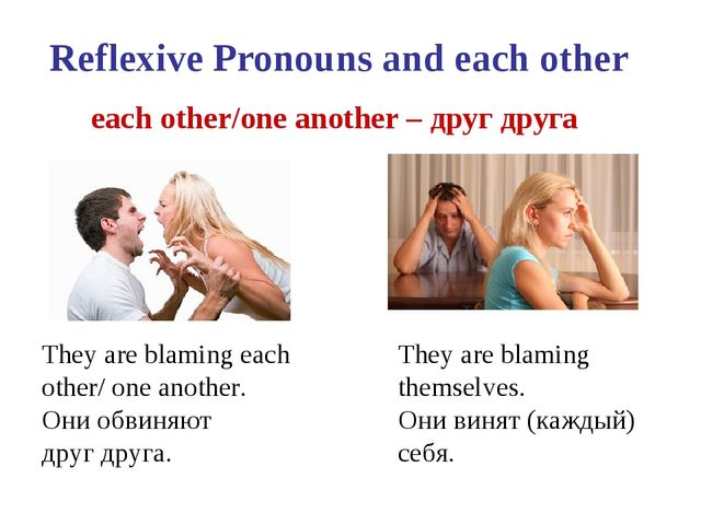 Reflexive Pronouns and each other each other/one another – друг друга They ar...