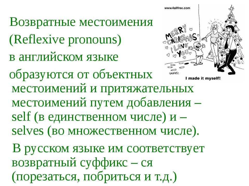 Возвратные местоимения (Reflexive pronouns) в английском языке образуются от...