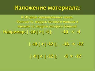 Изложение материала: 6. Из двух отрицательных чисел больше то, модуль которог