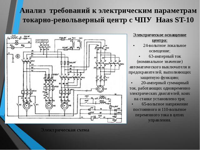 Анализ требований к электрическим параметрам токарно-револьверный центр с ЧПУ...