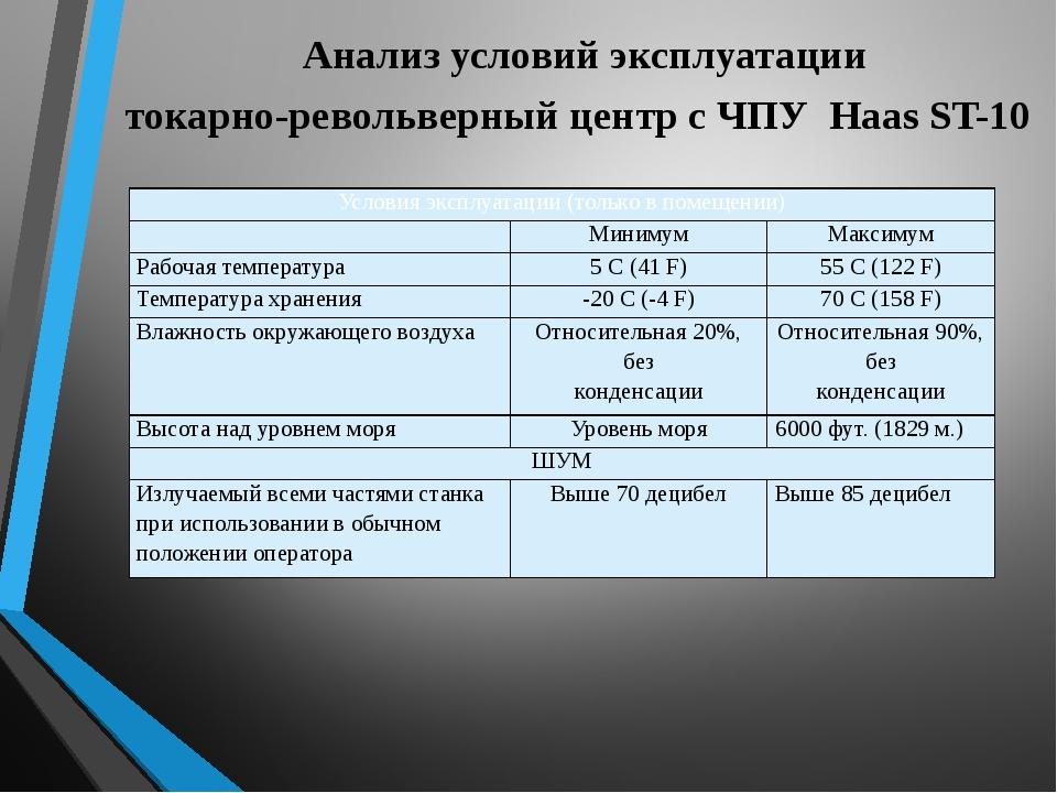 Анализ условий эксплуатации токарно-револьверный центр с ЧПУ Haas ST-10 Усло...