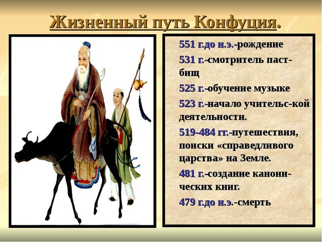 Жизненный путь Конфуция. 551 г.до н.э.-рождение 531 г.-смотритель паст-бищ 52...