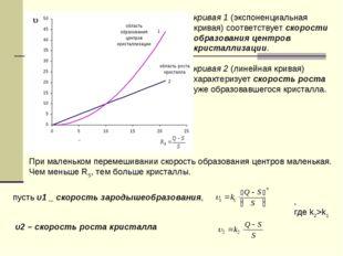 кривая 1 (экспоненциальная кривая) соответствует скорости образования центров