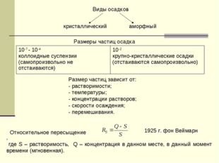 кристаллическийаморфный Виды осадков Размеры частиц осадка Размер частиц за