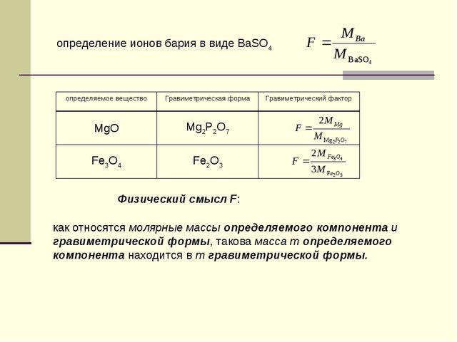 определение ионов бария в виде BaSO4 Физический смысл F: как относятся молярн...