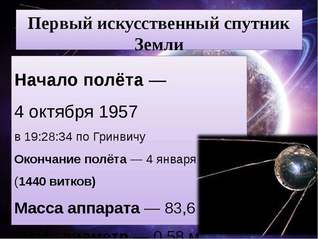 Первый искусственный спутник Земли Начало полёта—4 октября1957 в 19:28:34...