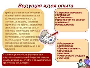Ведущая идея опыта Создание условий для формирования ключевых компетенций (ин