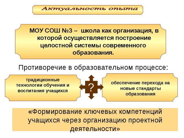 ? МОУ СОШ №3 – школа как организация, в которой осуществляется построение цел...