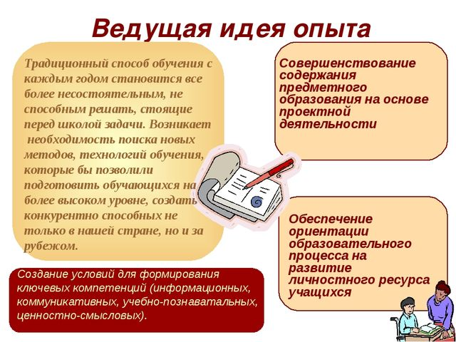 Ведущая идея опыта Создание условий для формирования ключевых компетенций (ин...