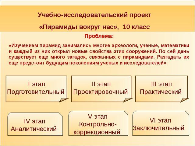 Учебно-исследовательский проект «Пирамиды вокруг нас», 10 класс I этап Подго...