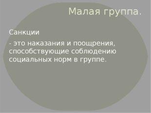 Малая группа. Санкции - это наказания и поощрения, способствующие соблюдению