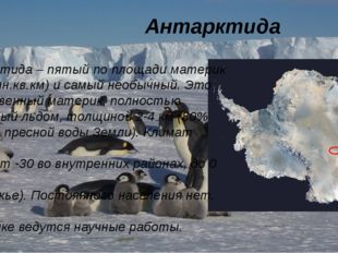 Антарктида Антарктида – пятый по площади материк (14,1 млн.кв.км) и самый не