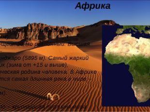 Африка Второй по площади материк (30 млн.кв.км). Преимущественно равнинный.