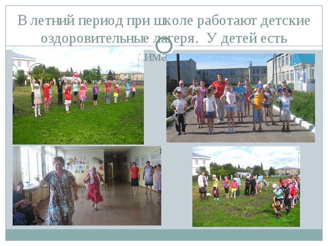 В летний период при школе работают детские оздоровительные лагеря. У детей е...