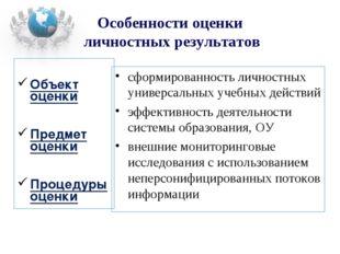 Объект оценки Предмет оценки Процедуры оценки сформированность личностных ун