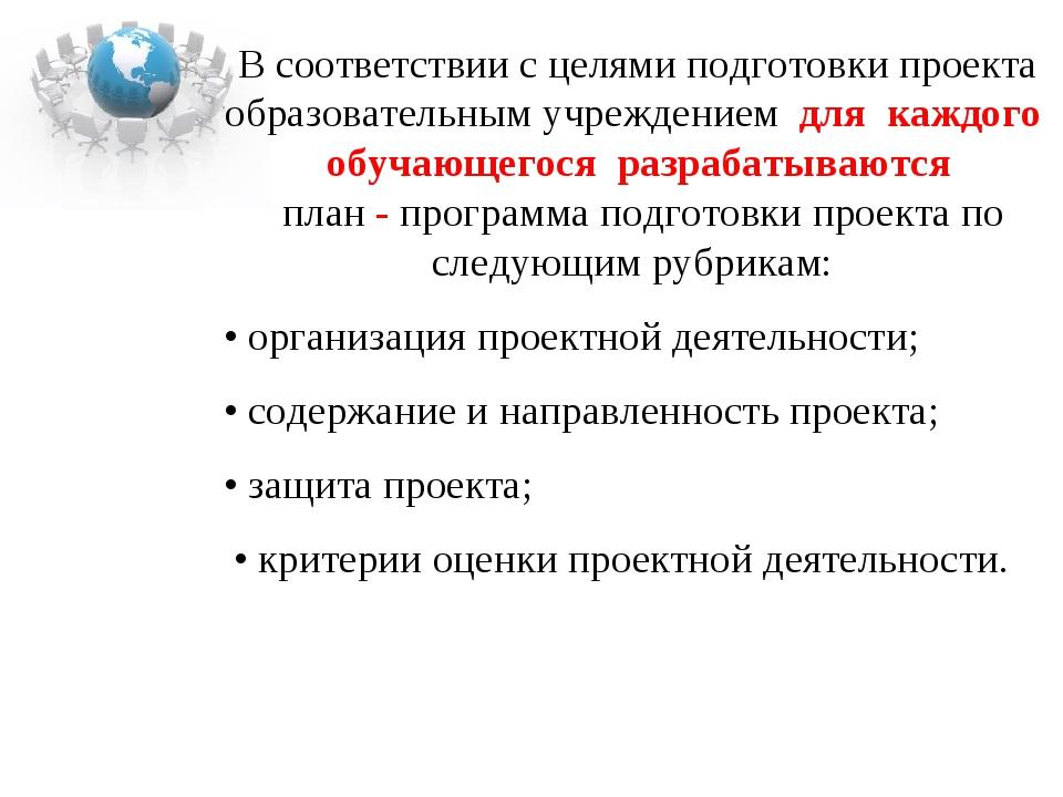 В соответствии с целями подготовки проекта образовательным учреждением для ка...