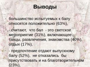 Выводы большинство испытуемых к балу относятся положительно (63%), - считают,
