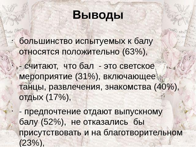 Выводы большинство испытуемых к балу относятся положительно (63%), - считают,...