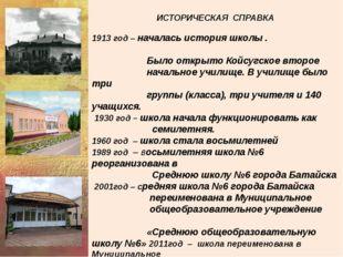 ИСТОРИЧЕСКАЯ СПРАВКА 1913 год – началась история школы . Было открыто Койсуг