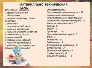 МАТЕРИАЛЬНО-ТЕХНИЧЕСКАЯ БАЗА 22 учебных кабинета 1 группа полного дня 1 библ