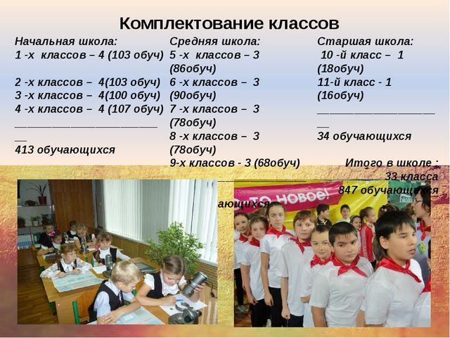 Комплектование классов Начальная школа: 1 -х классов – 4 (103 обуч) 2 -х кла...