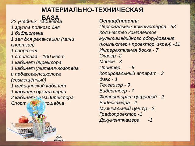 МАТЕРИАЛЬНО-ТЕХНИЧЕСКАЯ БАЗА 22 учебных кабинета 1 группа полного дня 1 библ...