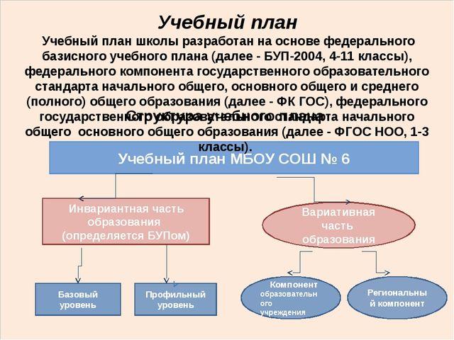Структура учебного плана Учебный план МБОУ СОШ № 6 Вариативная часть образов...