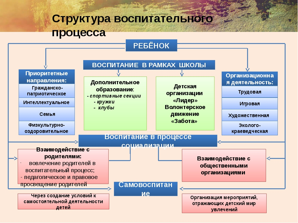 Структура воспитательного процесса РЕБЁНОК ВОСПИТАНИЕ В РАМКАХ ШКОЛЫ Приорит...