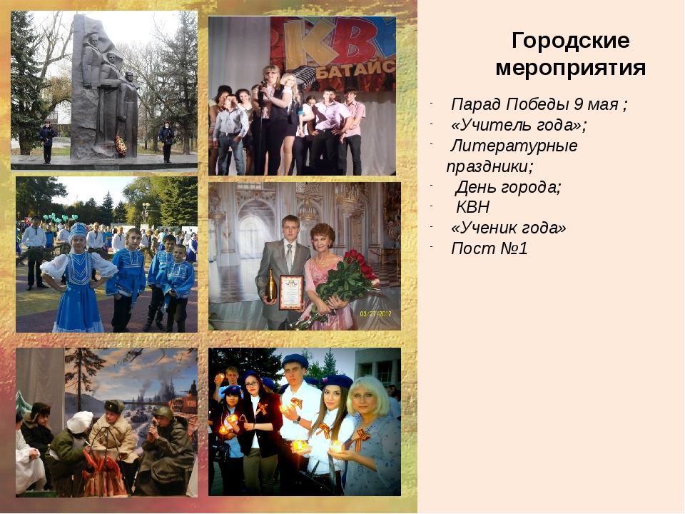 Городские мероприятия Парад Победы 9 мая ; «Учитель года»; Литературные праз...