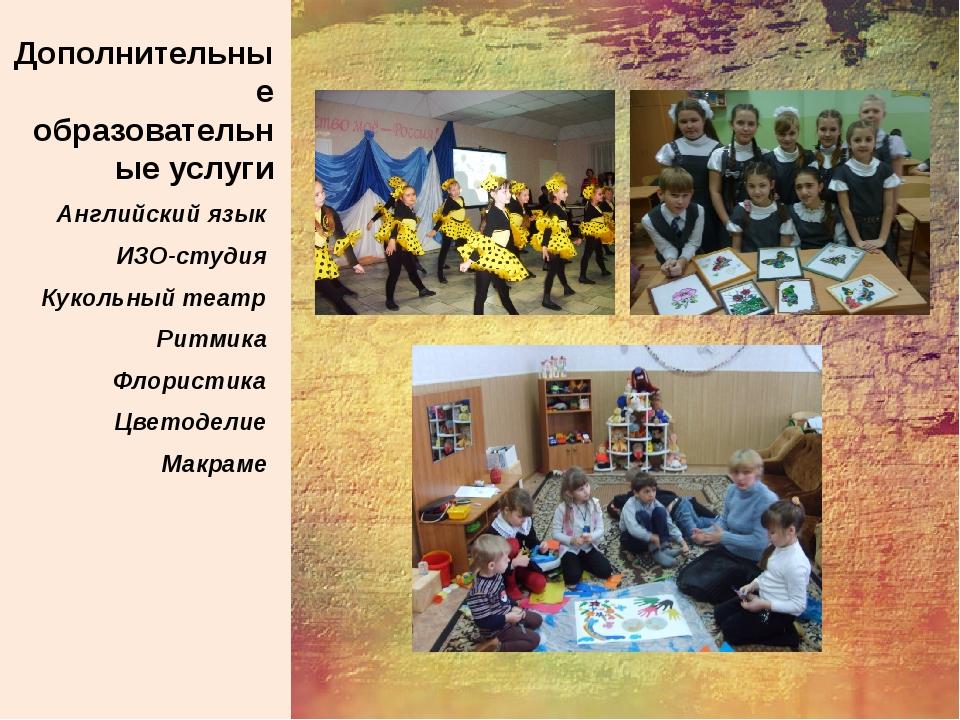 Дополнительные образовательные услуги Английский язык ИЗО-студия Кукольный т...