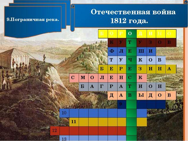 Отечественная война 1812 года. 9.Пограничная река. Б О Р О Д И Н О К У Т У З...