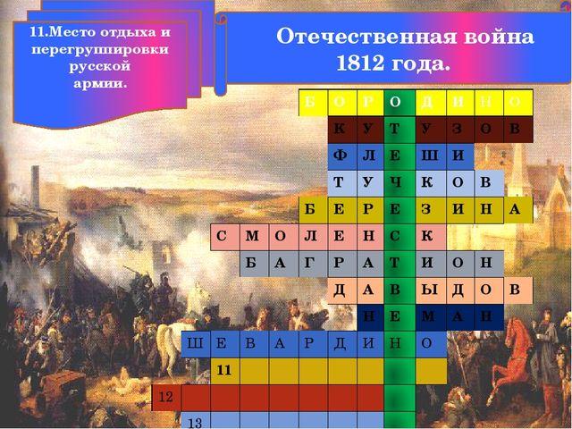 Отечественная война 1812 года. 11.Место отдыха и перегруппировки русской арм...