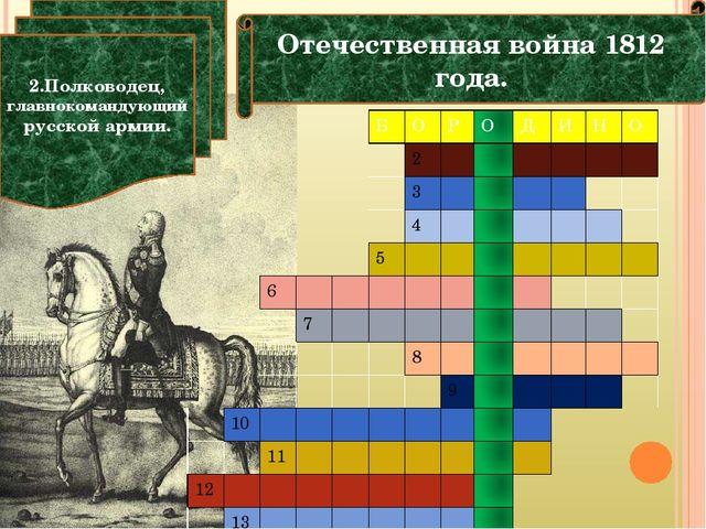 Отечественная война 1812 года. 2.Полководец, главнокомандующий русской армии....
