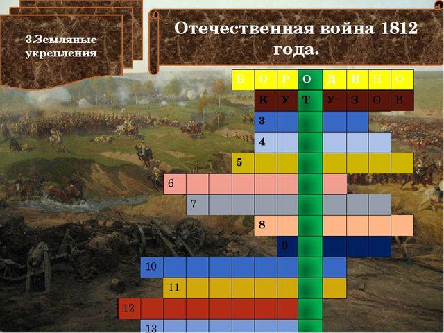 Отечественная война 1812 года. 3.Земляные укрепления Б О Р О Д И Н О К У Т У...