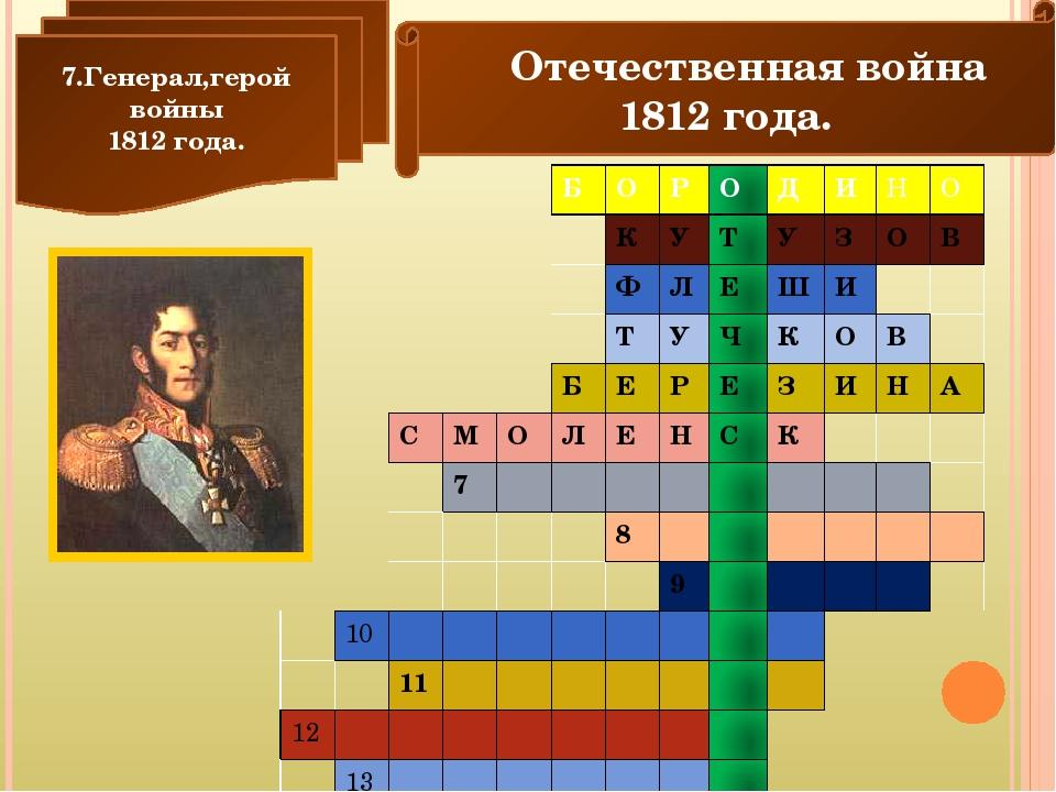 Отечественная война 1812 года. 7.Генерал,герой войны 1812 года. Б О Р О Д И...